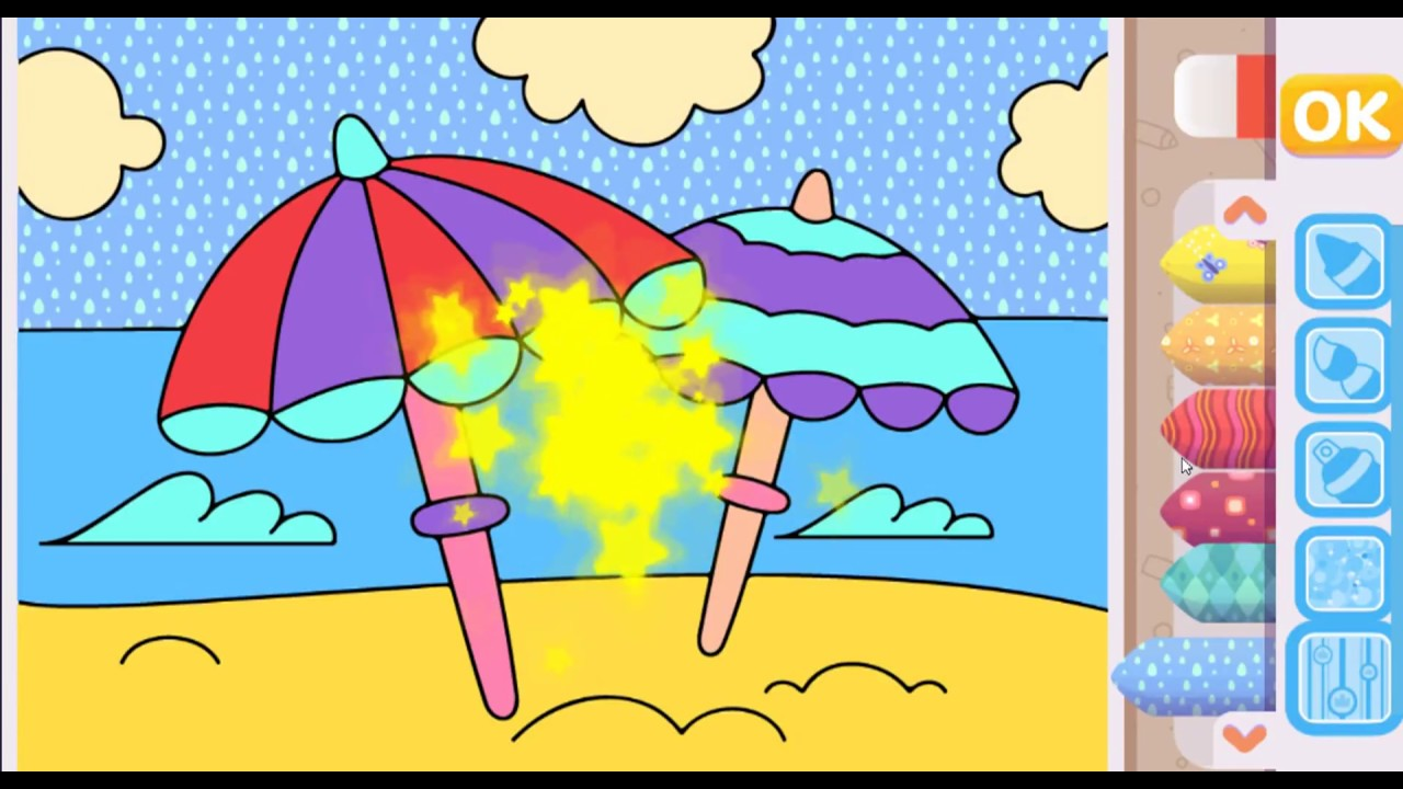 Beach Umbrella Coloring Pages for Children - YouTube