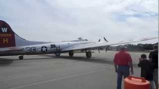 "Boeing B-17G Flying Fortress ""Aluminum Overcast"" startup and takeoff at KLUK"