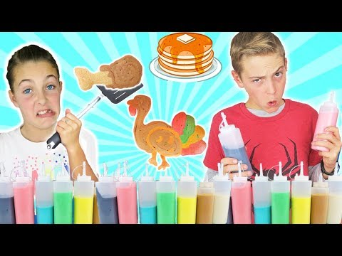 Sister vs Brother Thanksgiving Pancake Art Challenge | Kids Cooking and Crafts