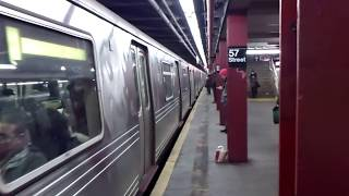 IND Sixth Avenue Line: Brooklyn-bound R46 F Train@57th Street