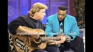 GARY BUSEY PLAYS 'BUDDY HOLLY'S' GUITAR
