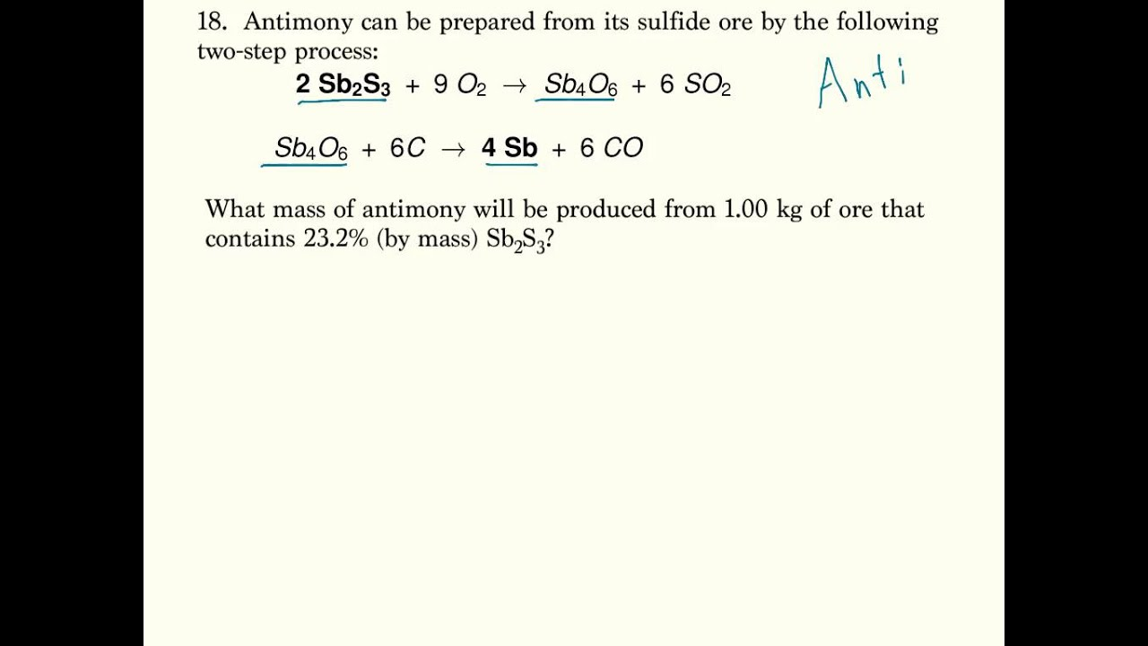 Multistep Stoichiometry YouTube – Chemical Equations and Stoichiometry Worksheet
