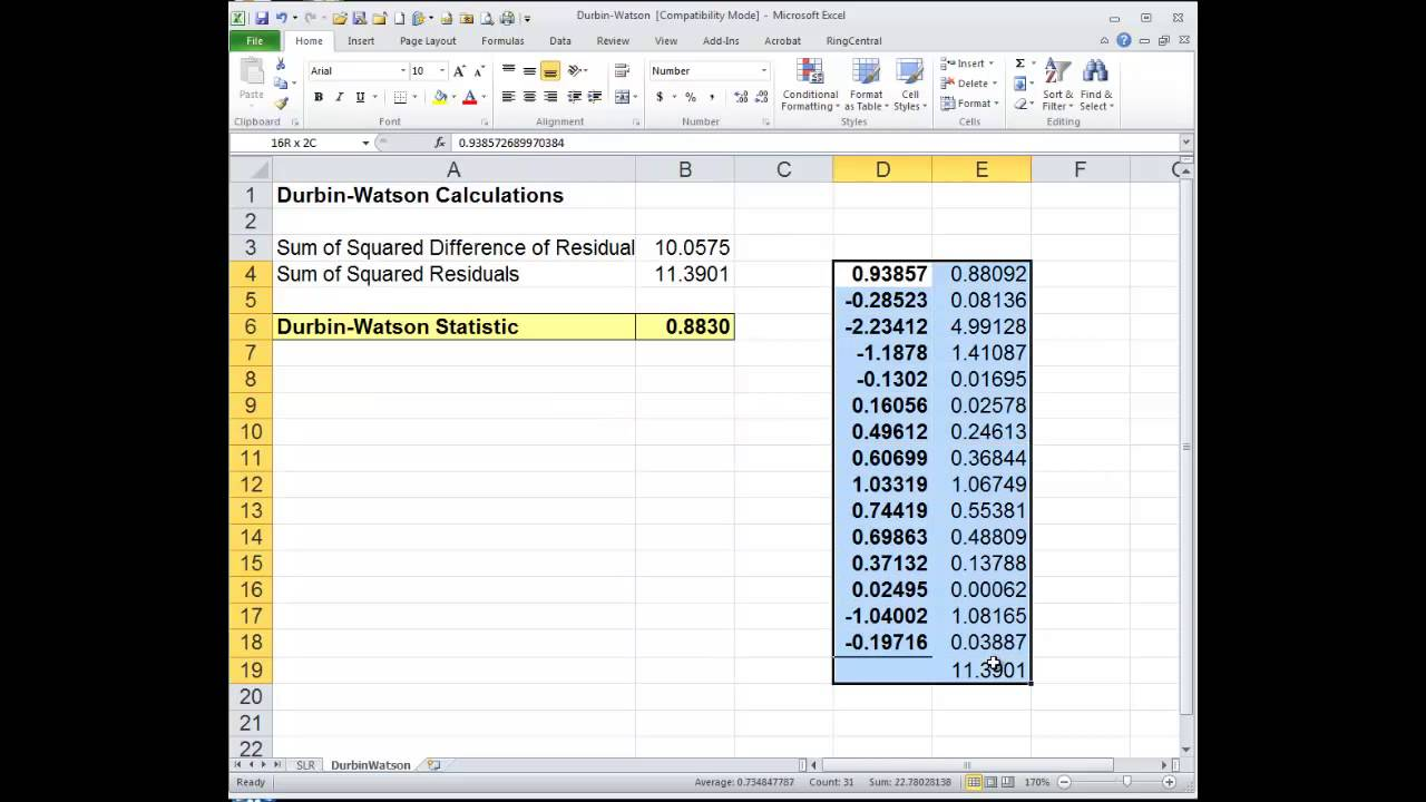 Durbin Watson Statistic In Excel
