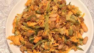 Постный Cалат с фасолью и сухариками.
