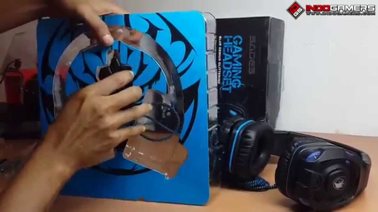 Unboxing And Review Sades Sa 907 711 Gaming Headset In Bahasa 708 Headphone Stereo Sound Blue