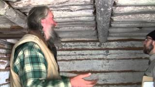 "Building Inspector Drew Kelly Inspects ""ancient"" Style Hand-made Log Cabin With Eustace Conway (pt7)"