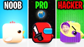 Can We Go NOOB vs PRO vs HACKER In SQUARE BIRD GAME!? (ALL LEVELS!)