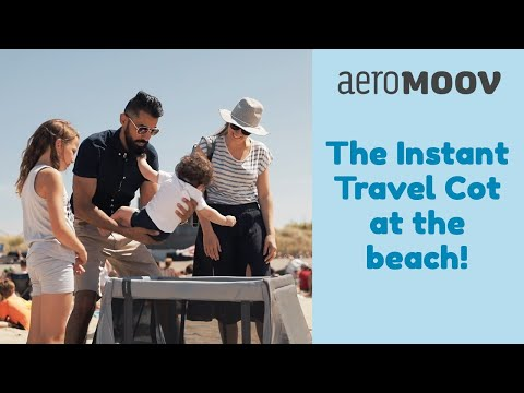 AeroMoov Instant travel cot at the beach!