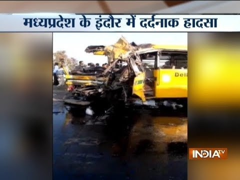 School bus collides with a truck on Indore's Kanadia Road, 5 school children and bus driver killed