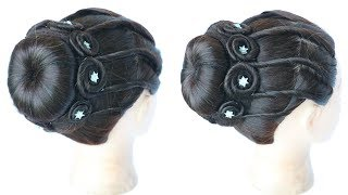 very beautiful and easy juda hairstyle for party    hair style girl    hairstyles for girls    juda