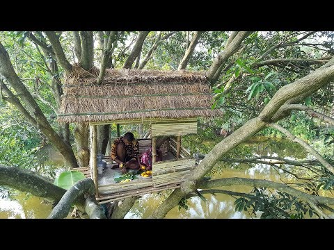 Build An Amazing Tiled Roof Hut In Tree - Primitive Tree House Making By Smart Village Boys