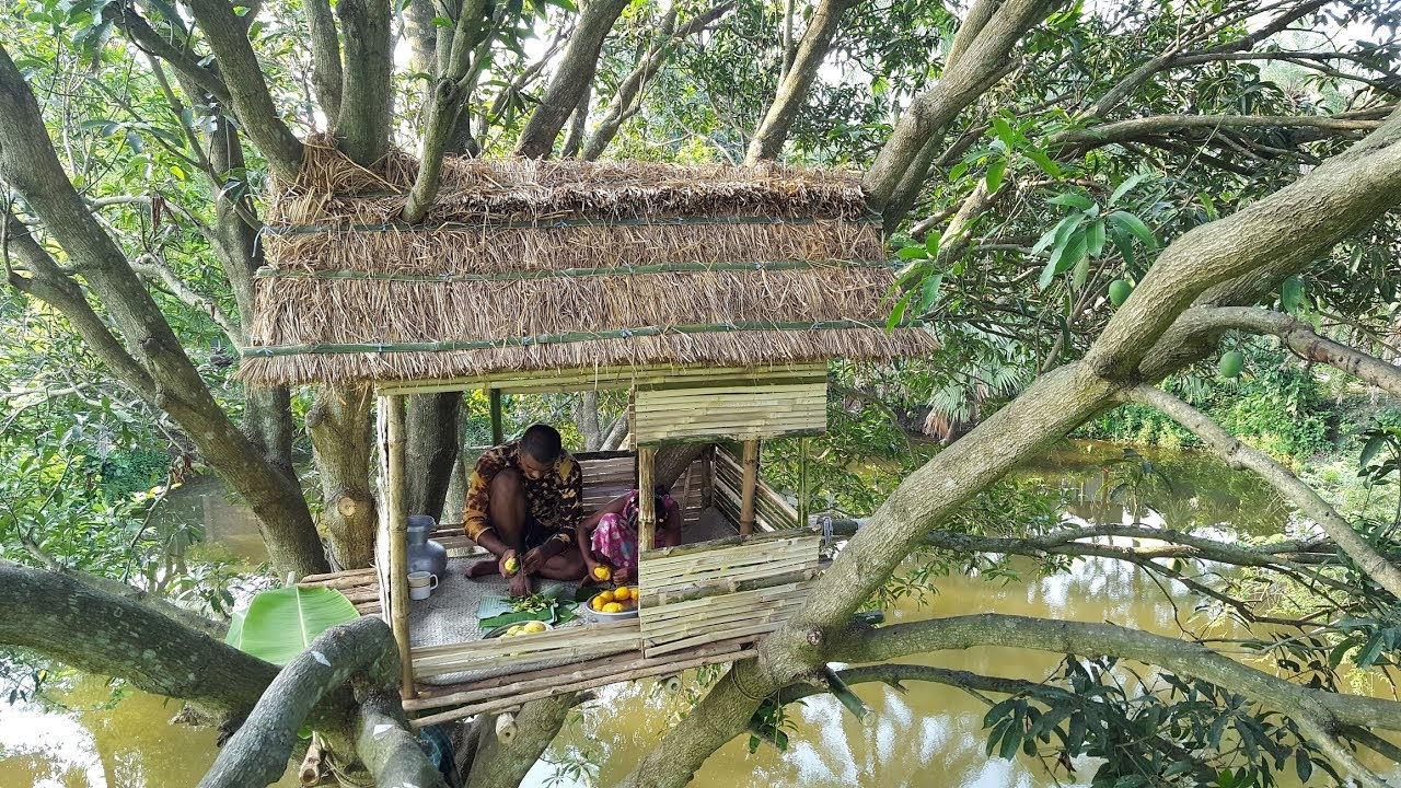 Build An Amazing Tiled Roof Hut In Tree Primitive Tree