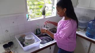 How to wash dishes with no running water