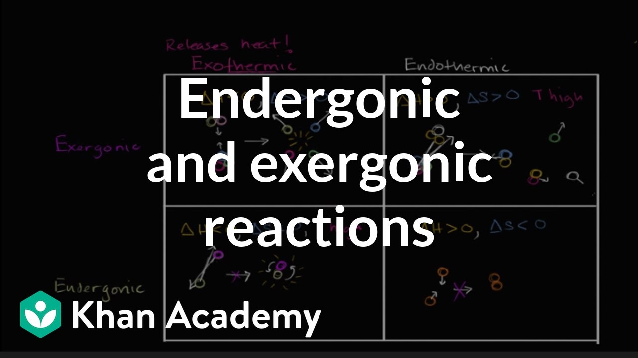 Endergonic Exergonic Exothermic And Endothermic Video Khan Academy
