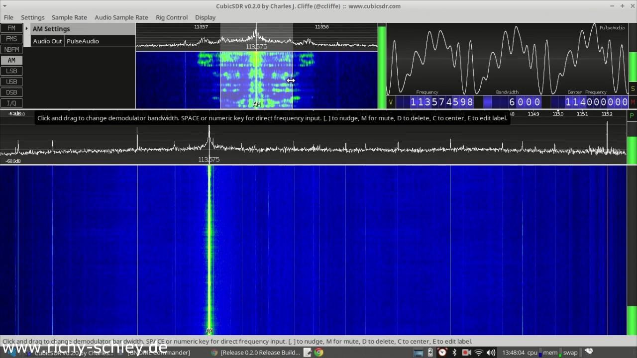 CubicSDR (Windows, Linux, Mac) mit RTL SDR (DVB-T Stick)