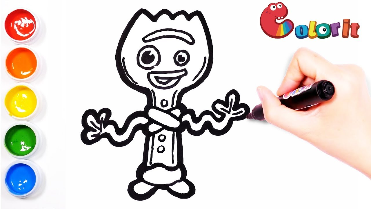 How To Draw Forky of the Toy Story 4 Learn Colors for Kids ...