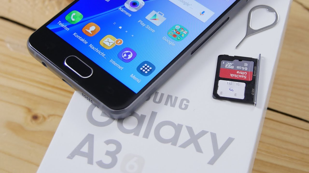 Samsung Galaxy A3 2016 NanoSIM MicroSD Einlegen