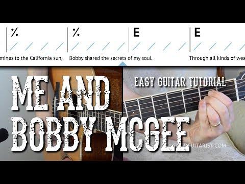 """Me and Bobby McGee"" Easy Guitar Tutorial   Kris Kristofferson, Janis Joplin - Easy Chords/Strumming"