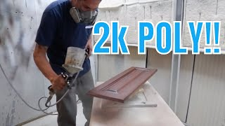 Cabinet refinishing using 2K poly