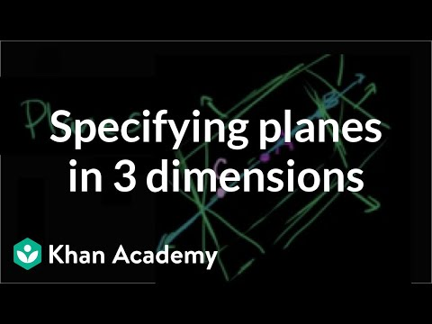 Specifying planes in three dimensions | Introduction to Euclidean geometry | Geometry | Khan Academy