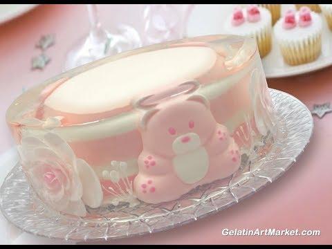 Gelatin Art Cake With Flowers And Teddy Bears