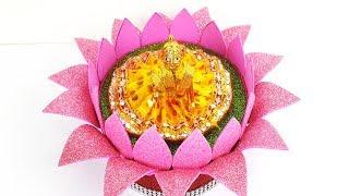 Easy Janmashtami Decoration Ideas - लड्डू गोपाल की चौकी/सिंहासन कैसे बनायें  Ganpati Singhasan