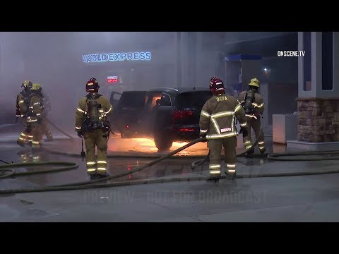 Car Erupts Into Flames At Gas Station Pump In Santa Ana