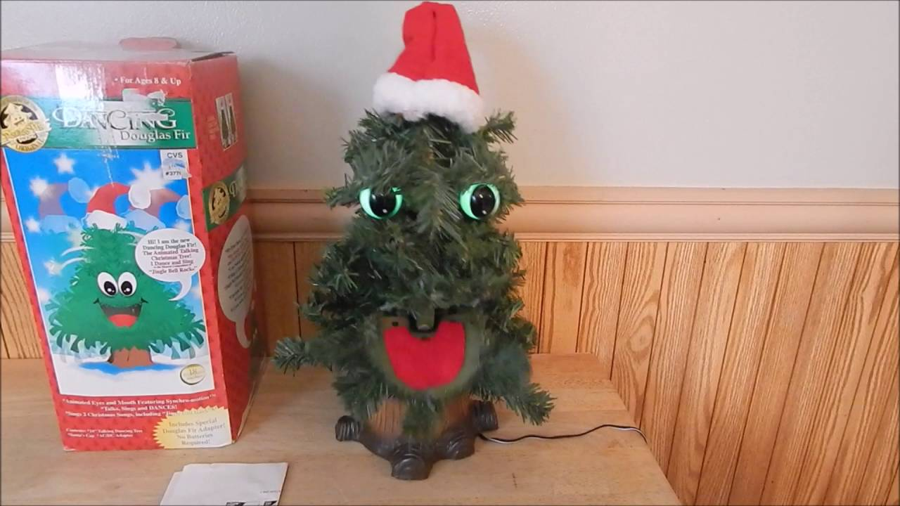 90s Christmas Tree Decorations.Gemmy Douglas Fir The Talking Singing Christmas Tree 1997
