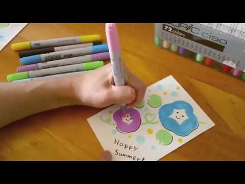 すぐ描ける簡単かわいい暑中見舞いあさがおイラスト朝顔 Youtube