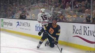 Zack Smith hits Pastrnak and fights Moore