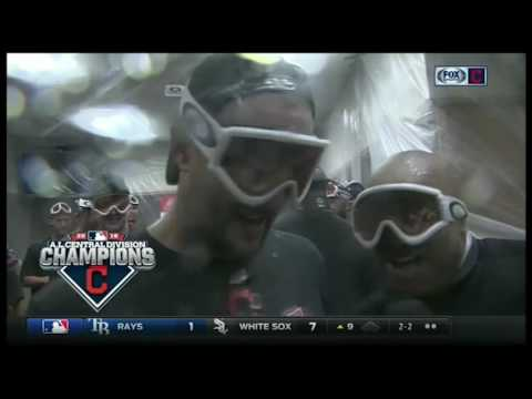 Lonnie Chisenhall takes over for Andre Knott in the middle of the Indians celebration