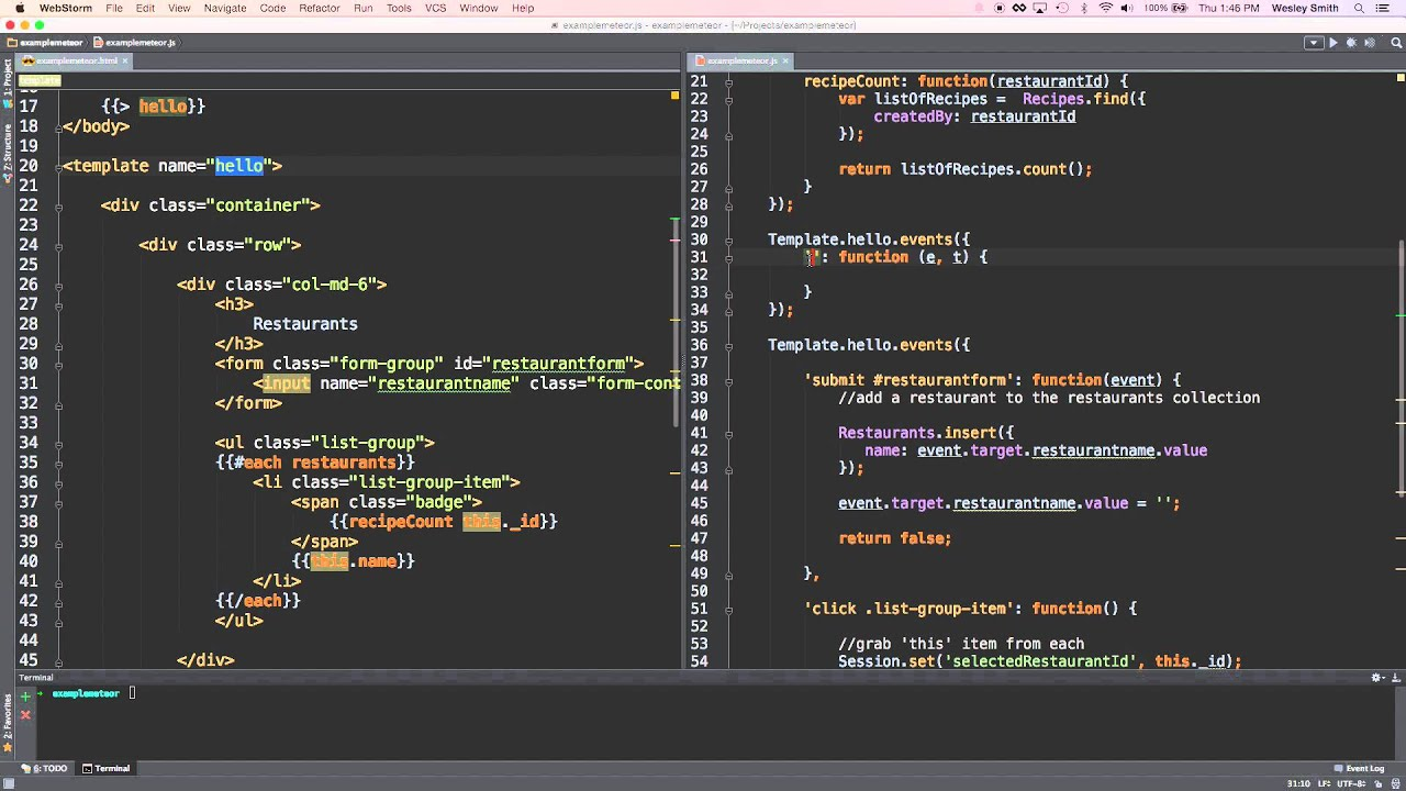 Webstorm live templates - YouTube