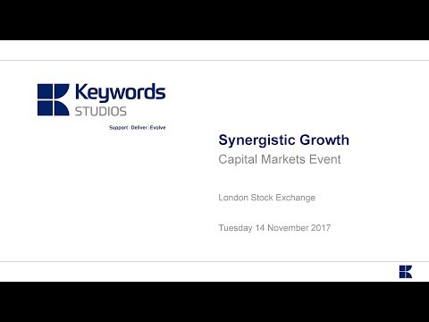 Keywords Studios (KWS) Synergistic Growth capital markets event November 2017