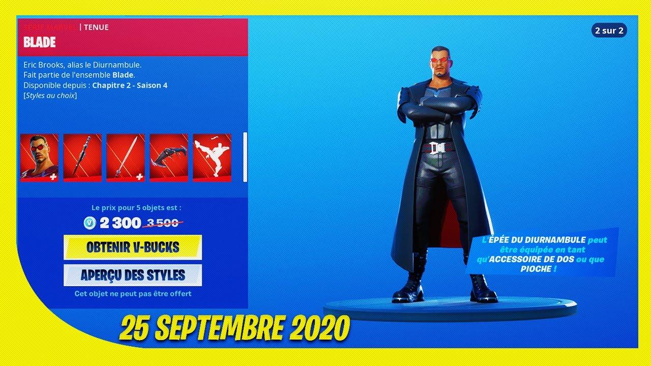 """BOUTIQUE FORTNITE du 25 Septembre 2020 ! Pack """"BLADE"""" !"""