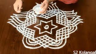 lotus rangoli designs with 9 to 5 Dots - lotus muggulu for friday - padi kolam