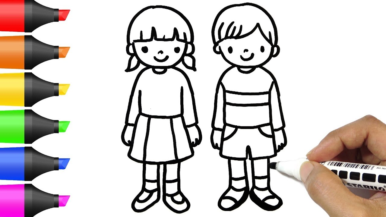 Drawing Boy And Girl Kids Coloring Pages Bodraw Youtube