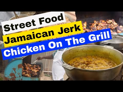 Jamaican Jerk Chicken 🐥 Grill Fried Curry Goat 🐐 Rice And Peas Street Food