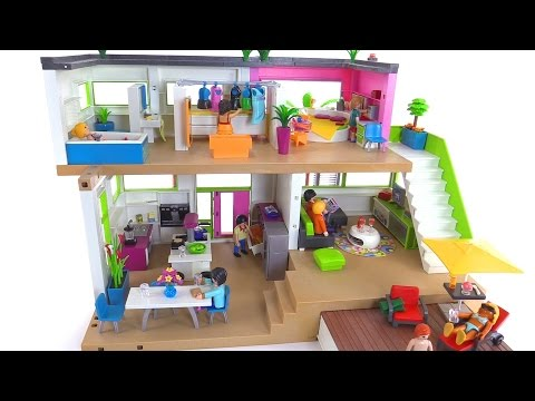 Playmobil modern luxury mansion part 2 furnished set for Maison moderne 5574
