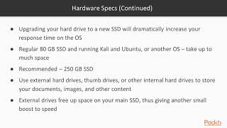 Kali Linux: Tips, Tricks and Techniques: Hardware Specs   packtpub.com