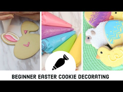 Beginner royal icing cookie decorating for Easter with full English explanation