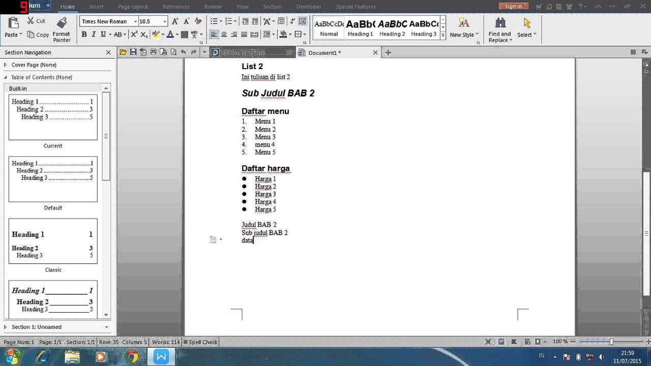 Tutorial Membuat Daftar Isi Otomatis Di Wps Writer Youtube