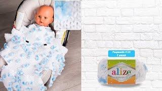 Alize Ponponella ile puset battaniye - Seat Blanket with Alize Ponponella