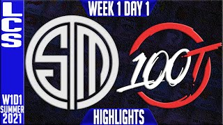 TSM vs 100 Highlights | LCS Spring 2021 W1D1 | Team Solomid vs 100 Thieves