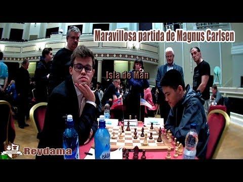 Maravillosa partida de Magnus Carlsen vs Jeffery Xiong  en el Isla de Man