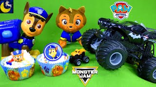 Paw Patrol Toys Make Cupcakes for Monster Jam Trucks Birthday! Best Kids Toy Stories Cooking Video!