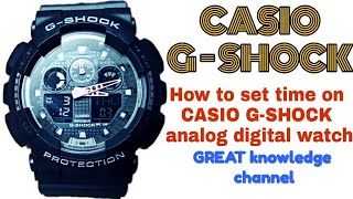 How to set time on Casio G-Shock (analog and digital) watch | GREAT knowledge channel