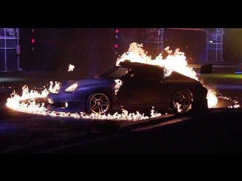 Flaming Porsche 911s in Super Slow-Mo   INFERNO   Top Gear Live 2014 Glasgow