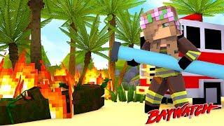 LITTLE KELLY FIGHTS FIRE IN THE CITY - BAYWATCH| Minecraft Little Kelly