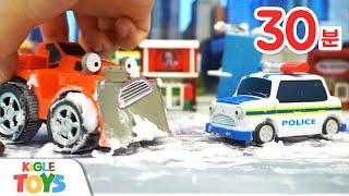 타요 장난감 어드벤처 | 경찰차 세차장 거품놀이 중장비…