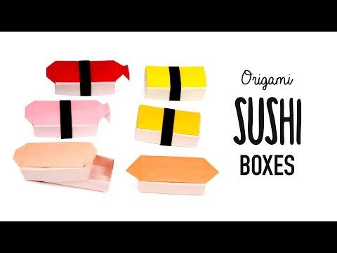 Origami Sushi Boxes Tutorial - DIY - Paper Kawaii